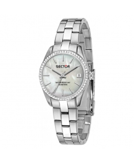 Sector 240 38mm 3h white mop dial br ss