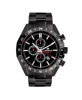 Orologio Lorenz Granpremio GMT uomo nero / rosso - 42 mm