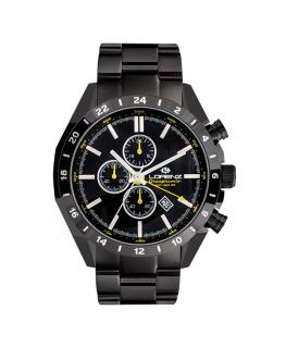 Orologio Lorenz Granpremio GMT uomo nero / giallo - 42 mm