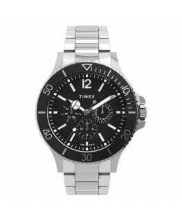 Orologio Timex Harboside multi acciaio nero - 43 mm